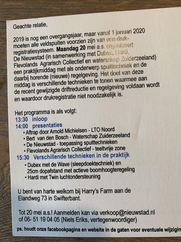 20 mei 2019; praktijkmiddag Spuittechniek en Regelgeving